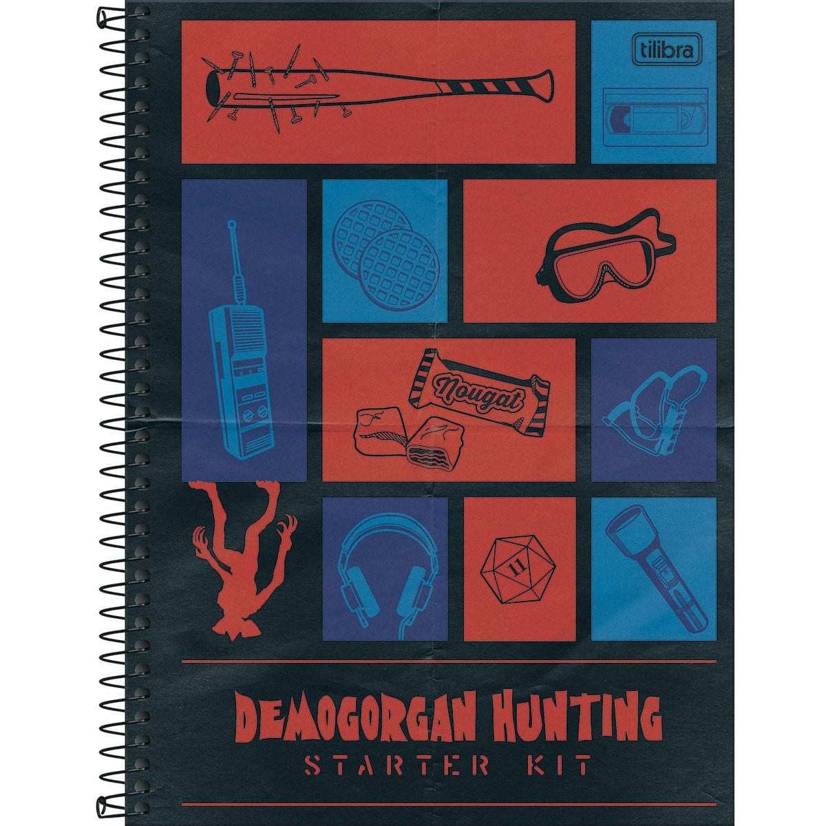 Caderno Espiral Capa Dura Universitário 10 Matérias Stranger Things 160 Folhas - Tilibra