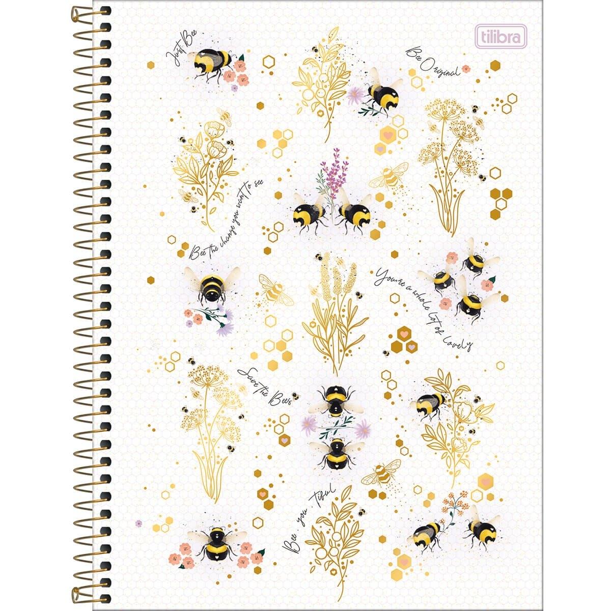 Caderno Espiral Capa Dura Universitário 1 Matéria Honey Bee 80 Fls - Tilibra
