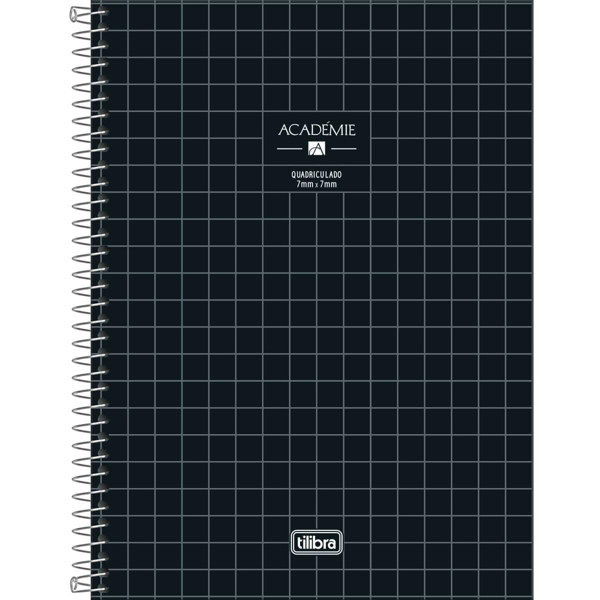 Caderno Espiral Capa Dura Universitário Quadriculado 7x7mm Académie 96 Fls - Tilibra