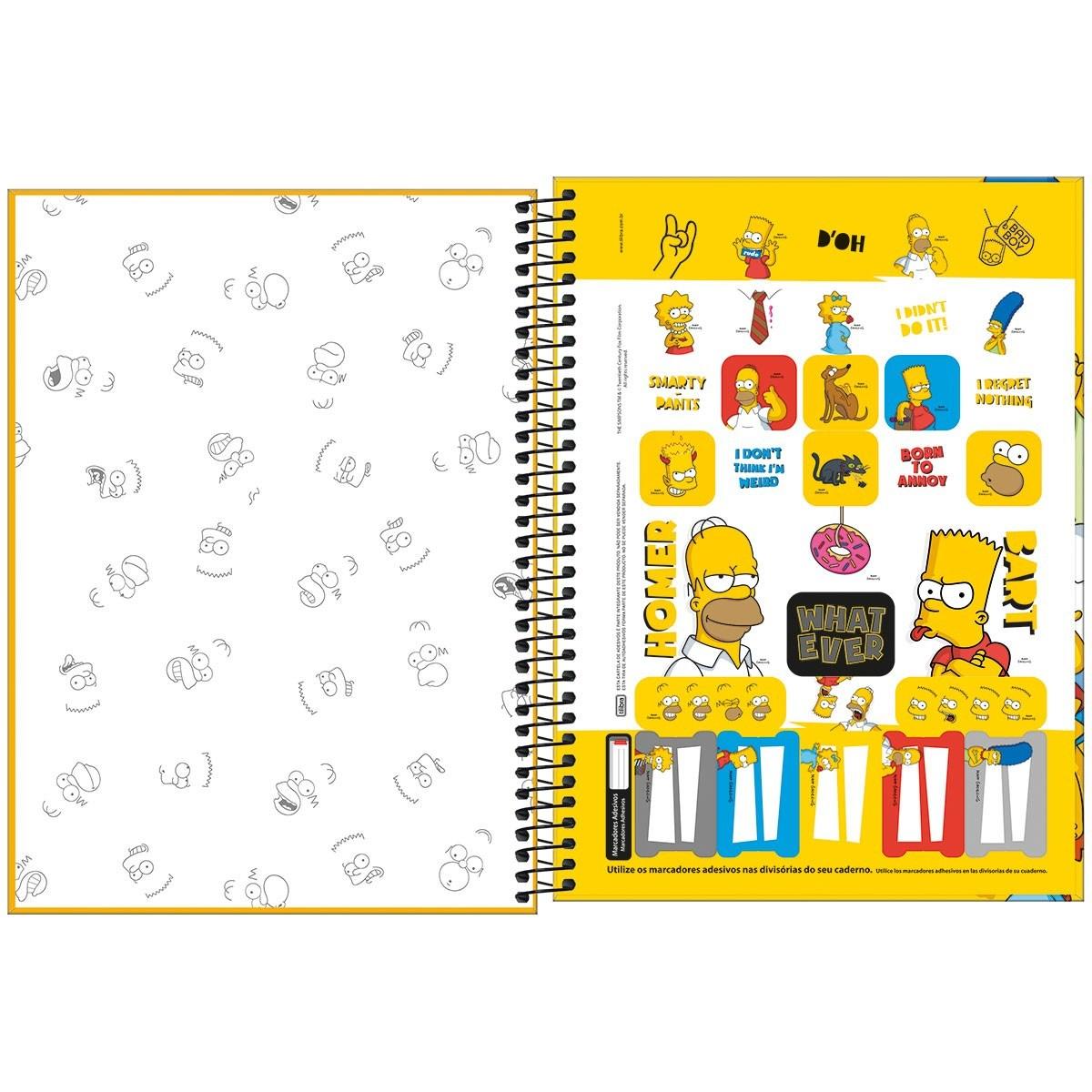 Caderno Espiral Capa Dura Universitário 1 Matéria Simpsons 80 Fls - Tilibra