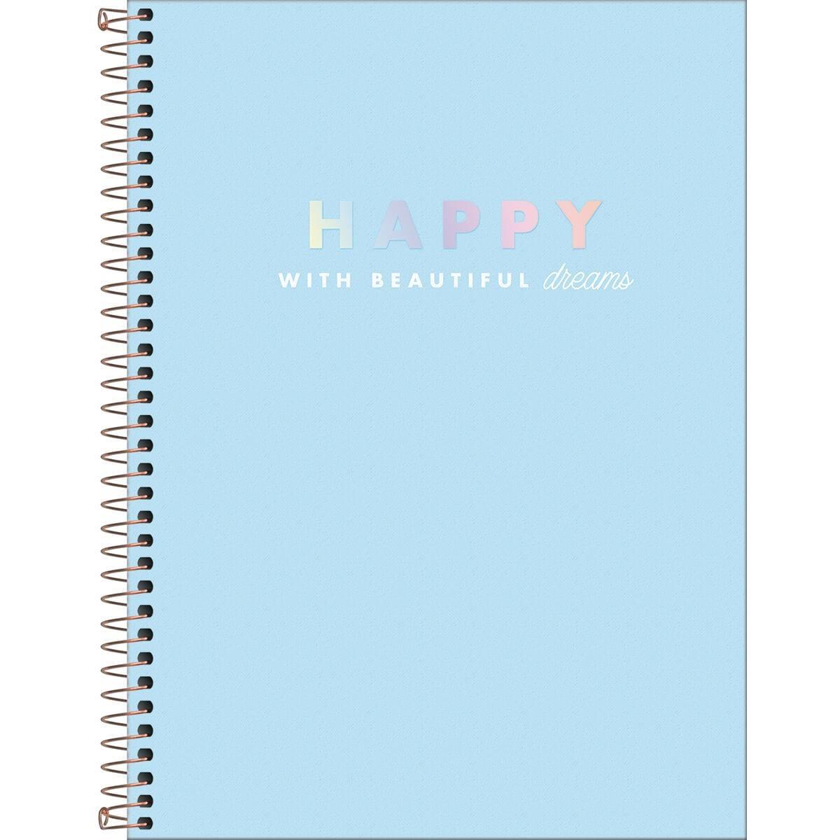 Caderno Espiral Capa Dura Universitário 16 Matérias Happy 256 Fls - Tilibra