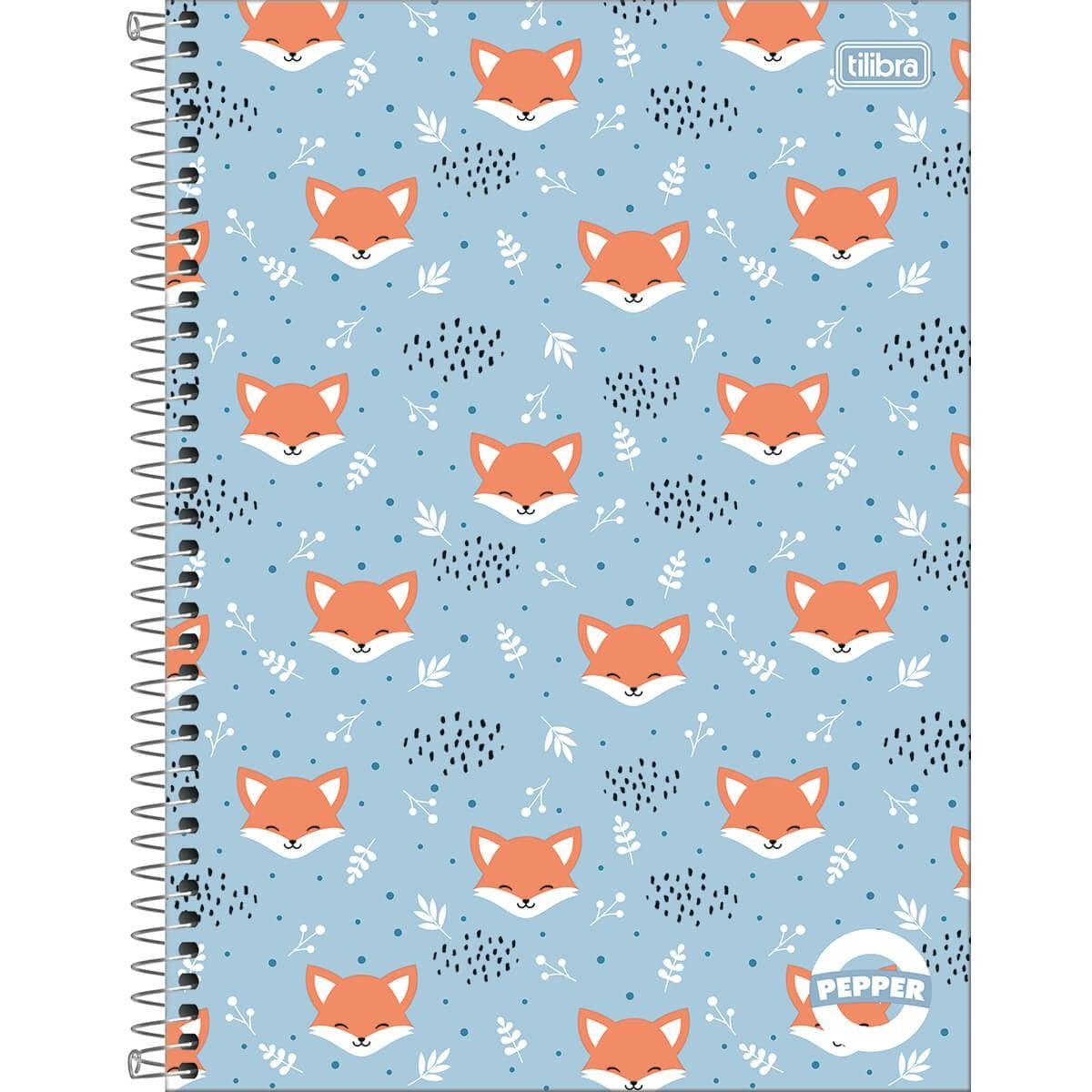Caderno Espiral Capa Dura Universitário 16 Matérias Pepper 256 Fls - Tilibra