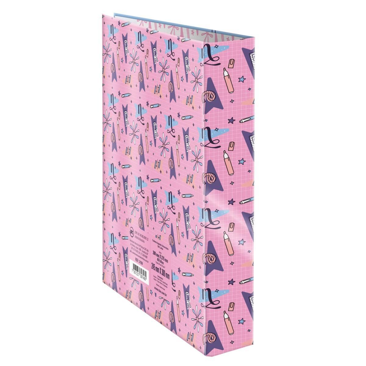 Caderno Argolado/Fichário Universitário com Elástico Lettering C/ 80 Fls - DAC