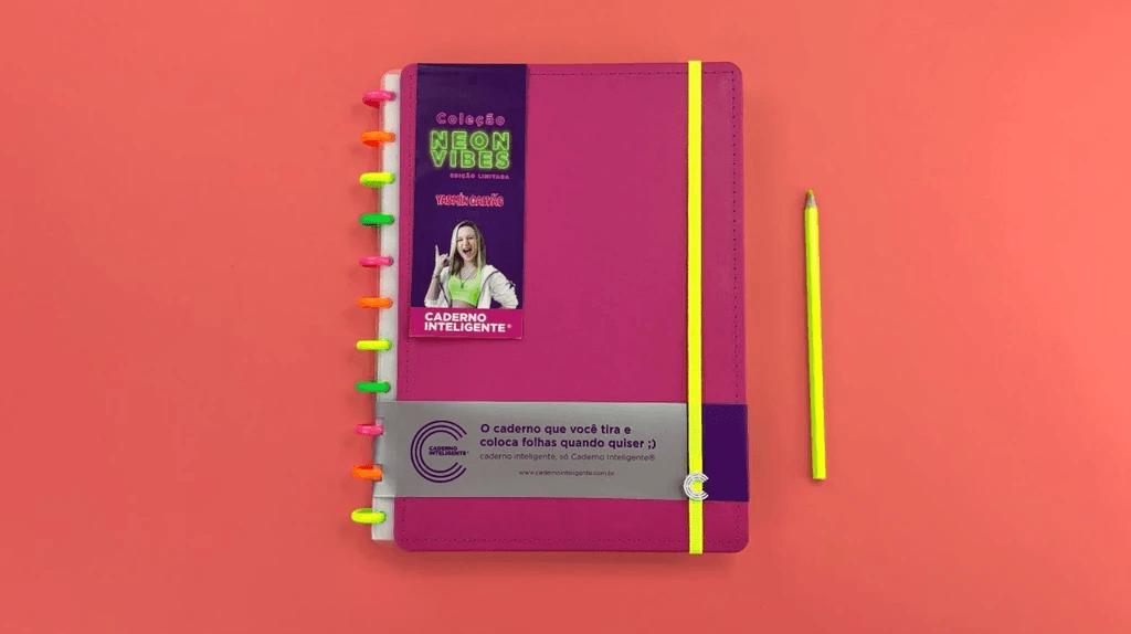 Caderno Inteligente Neon Vibes Edição Limitada Yasmin Galvão - Grande