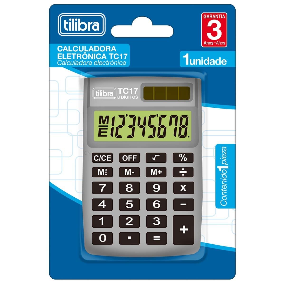 Calculadora de Bolso 8 Dígitos TC17 Cinza - Tilibra