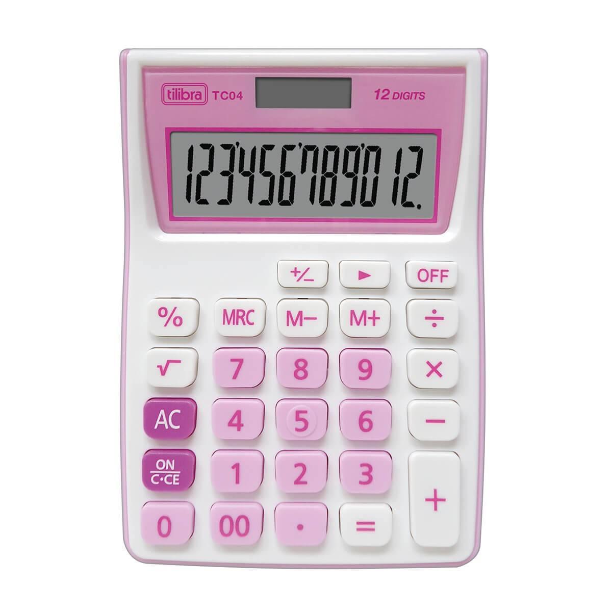 Calculadora de Bolso 12 Dígitos Grande TC04 Rosa - Tilibra