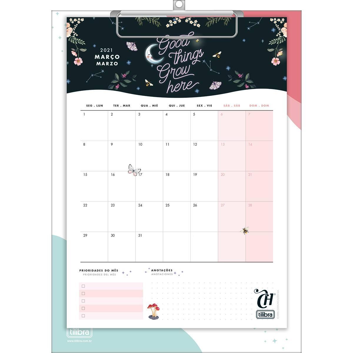 Calendário Planner Prancheta Capricho 2021 - Tilibra