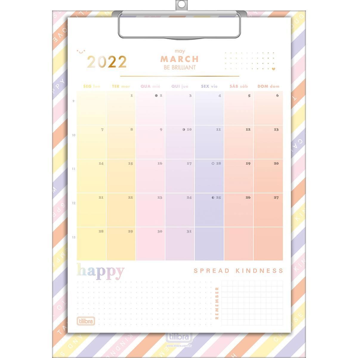 Calendário Planner Prancheta 21x29,7cm Happy 2022 - Tilibra