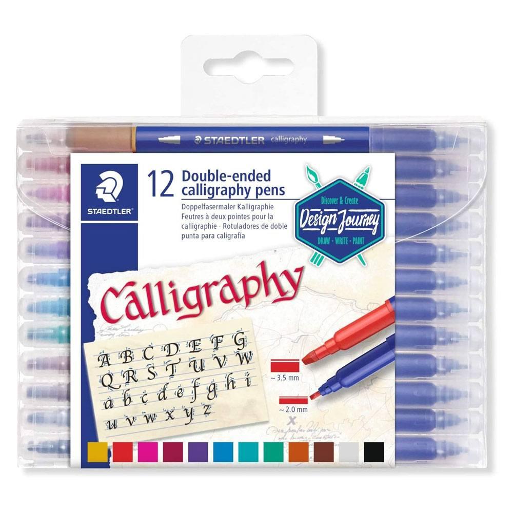Caneta Caligrafia Hidrocor Calligraphy Duo - Ponta Dupla - 12 Cores - Staedtler