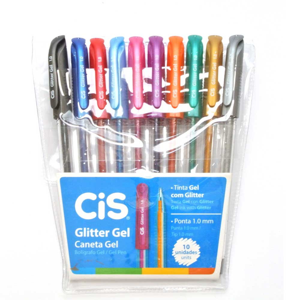 Estojo C/ 10 Canetas Glitter Gel 1.0MM - CIS
