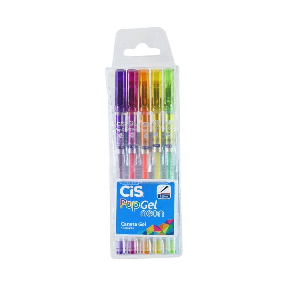 Estojo C/ 5 Canetas Esferográficas Pop Gel Neon 1.0mm - CIS