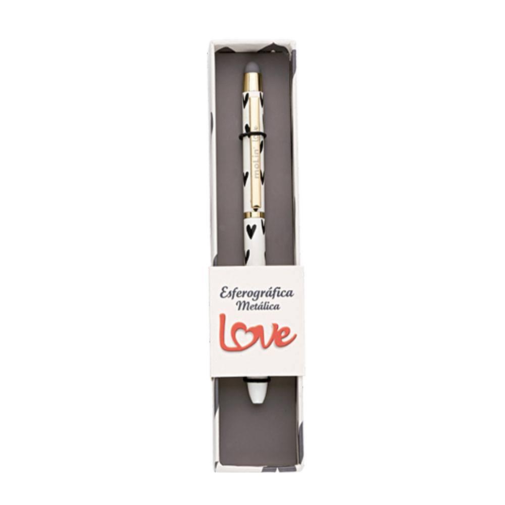 Caneta Esferográfica Love Metálica Heart Black 1.0mm C/ Touch - Molin