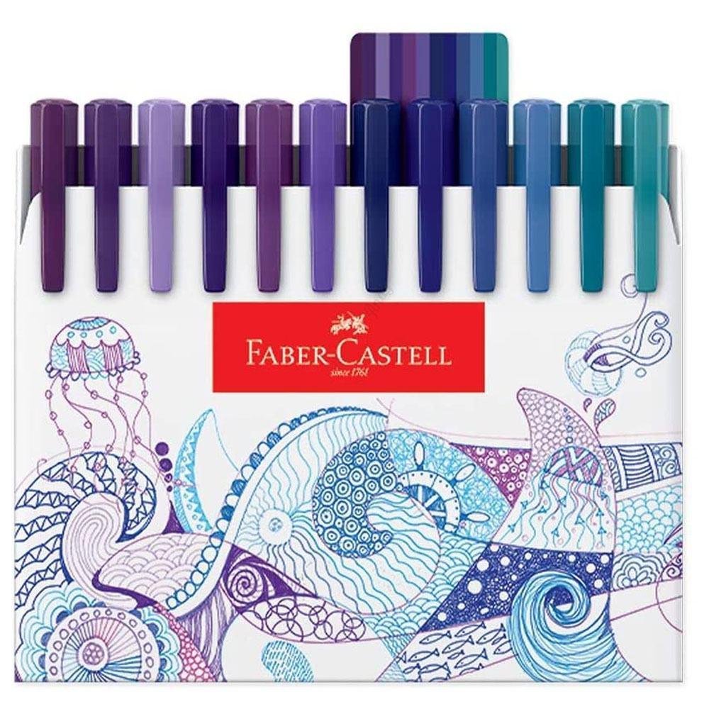 Caneta Fine Pen Hidrográfica 0.4mm Fineliner Caixa c/ 48 Cores - Faber Castell