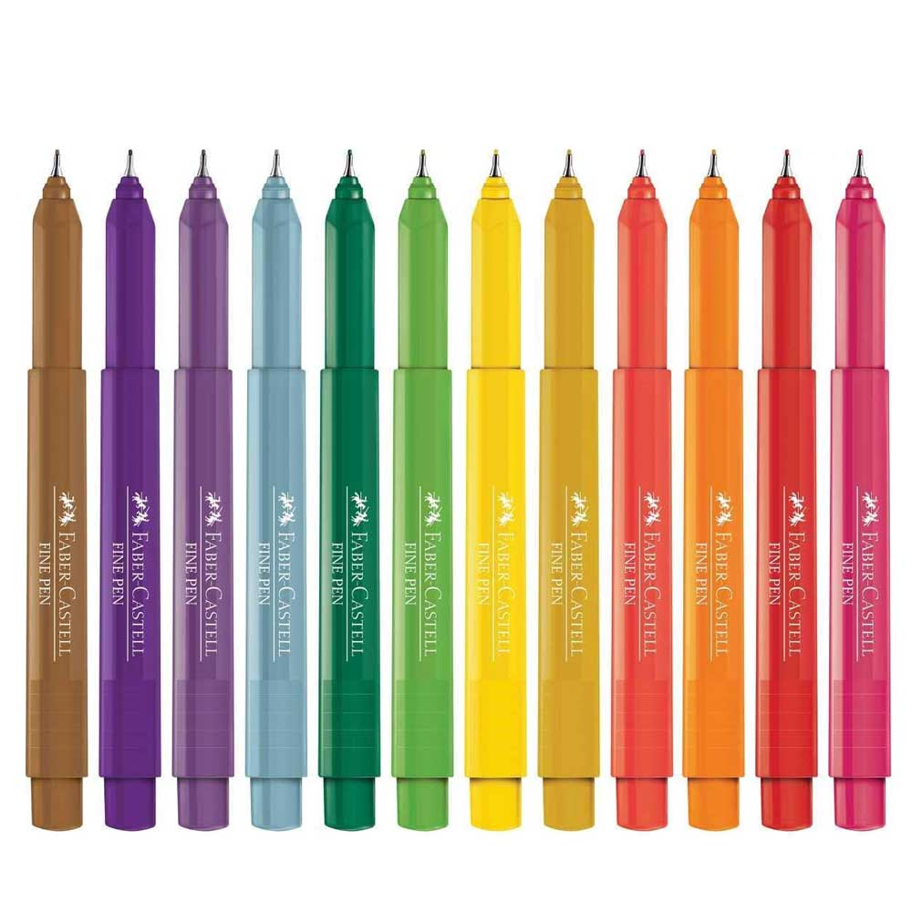 Estojo Caneta Fine Pen Colors 0.4mm C/12 Cores - Faber Castell