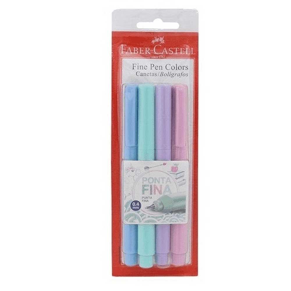 Caneta Fine Pen Hidrográfica 0.4mm Fineliner Tons Pasteis C/4 Cores - Faber Castell