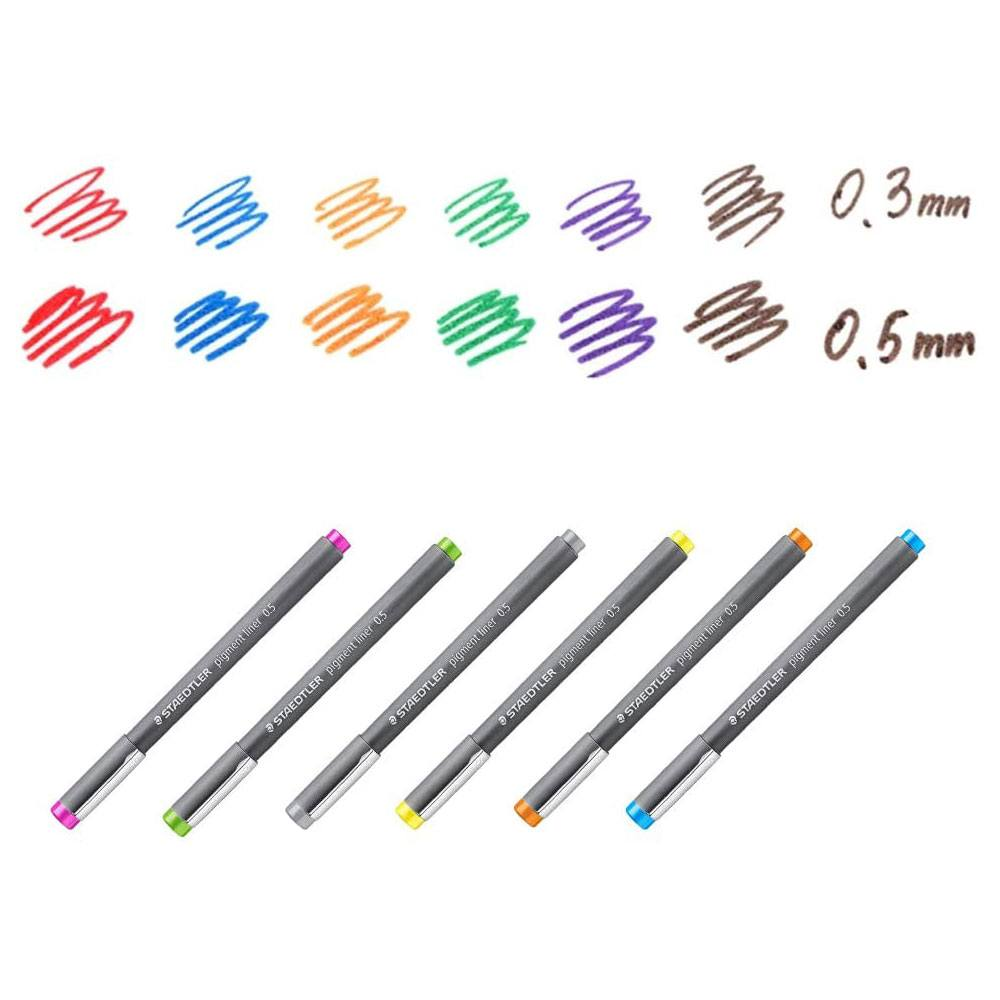 Caneta Técnica Fineliner Pigment Liner 308 Colorida Estojo C/ 6 Cores - Staedtler