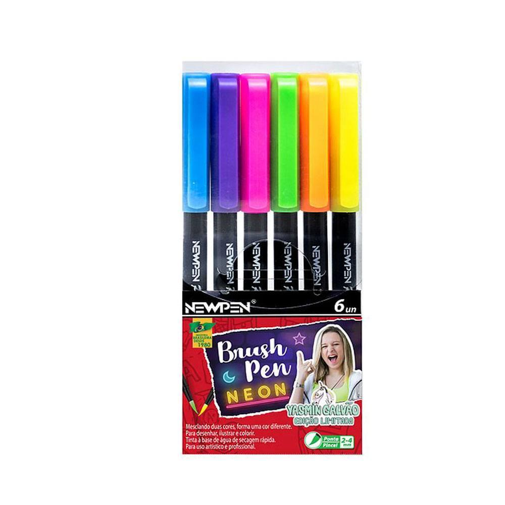 Kit Caneta Pincel Brush Pen 6 Unidades - Newpen