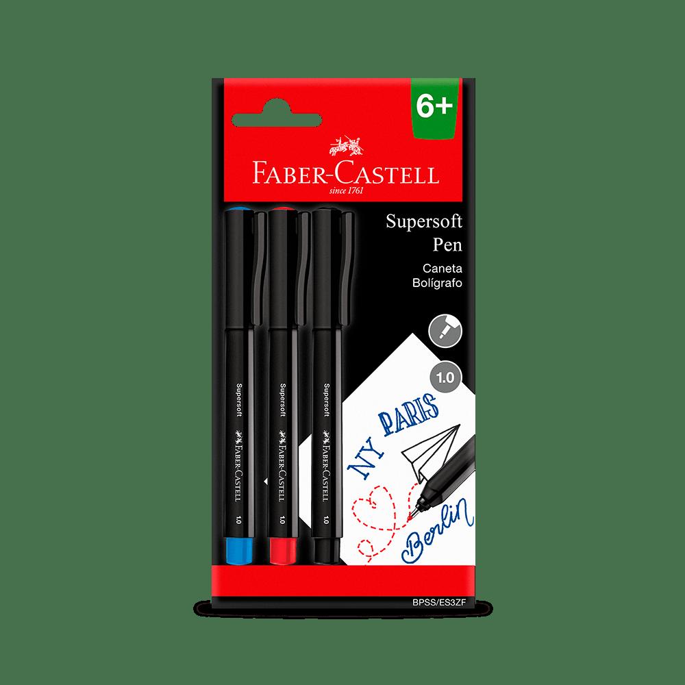 Caneta Ponta Porosa Supersoft Pen  1.0mm Blister C/ 3 Unid. - Faber-Castell