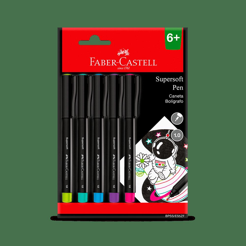 Caneta Ponta Porosa Supersoft Pen  1.0mm Blister C/ 5 Unid. - Faber-Castell