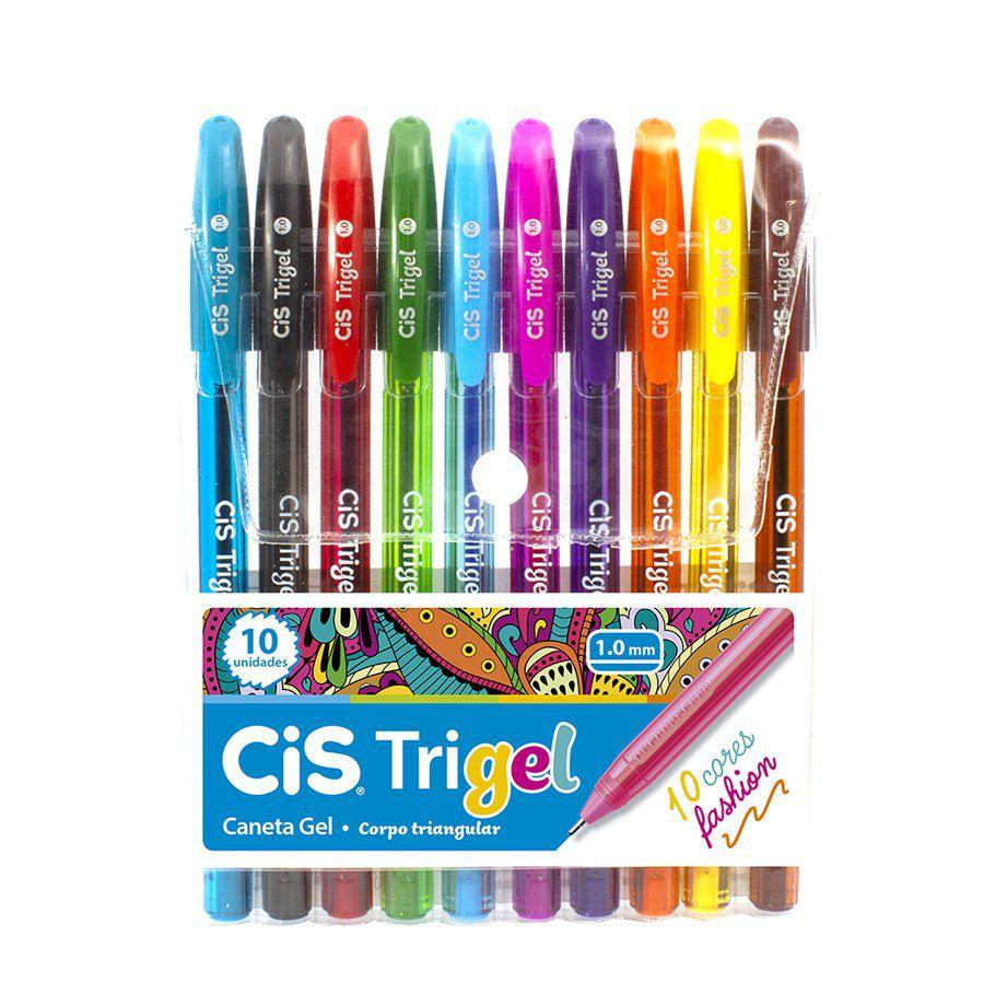 Caneta Esferográfica Gel Trigel Fashion 1.0mm Estojo C/ 10 - CIS