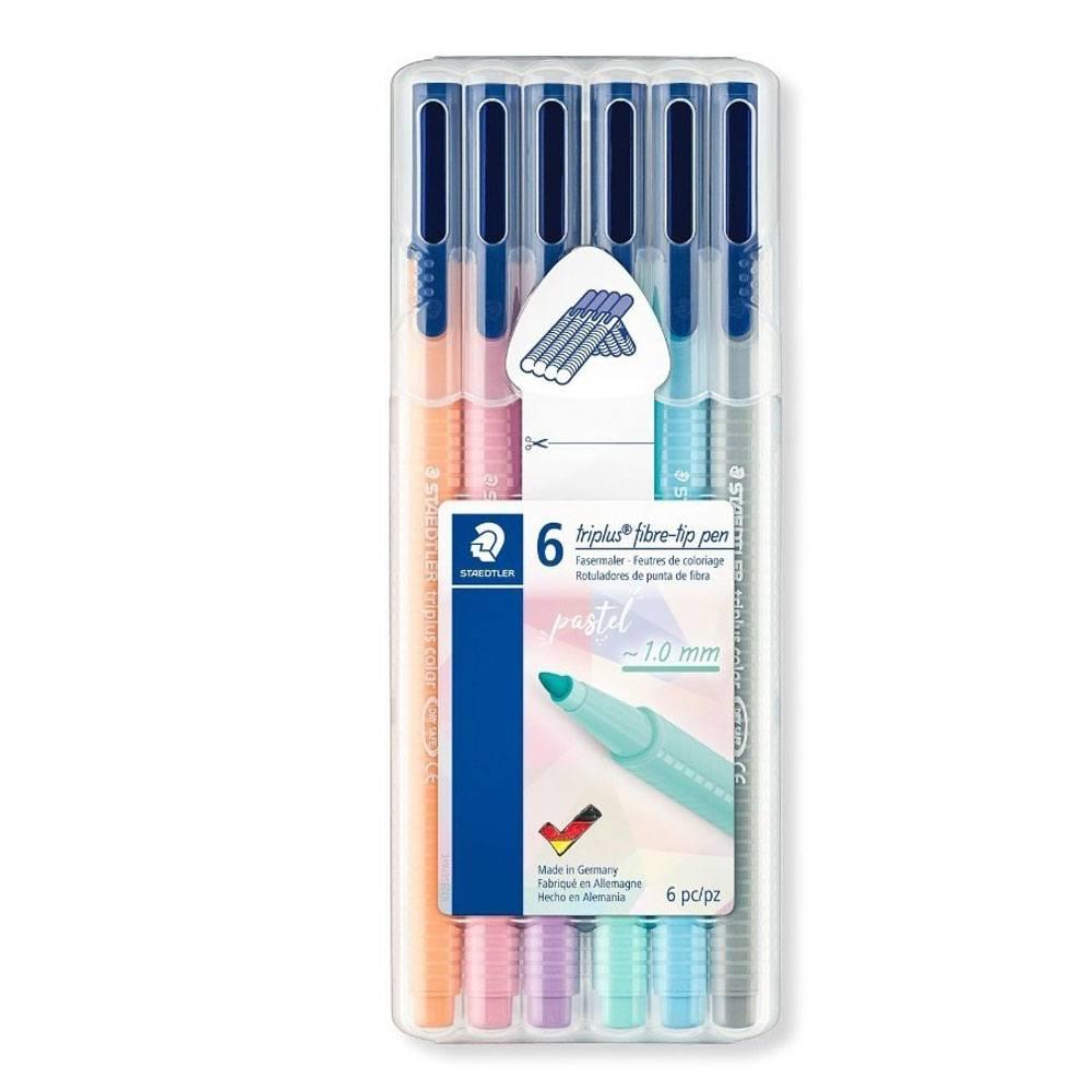Caneta Triplus Color Fibre-Tip Pen 1.0mm - Estojo c/ 6 Cores Pastel - Staedtler
