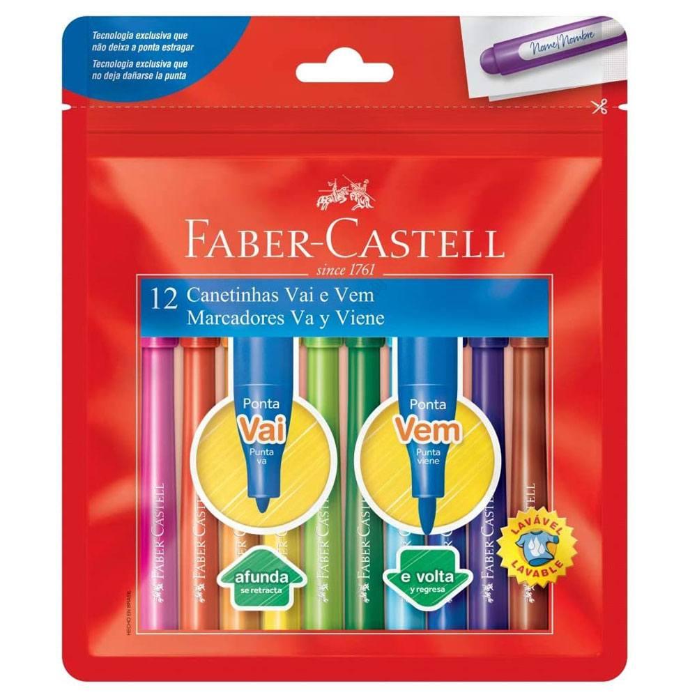Caneta Hidrográfica Vai e Vem 12 Cores - Faber-Castell