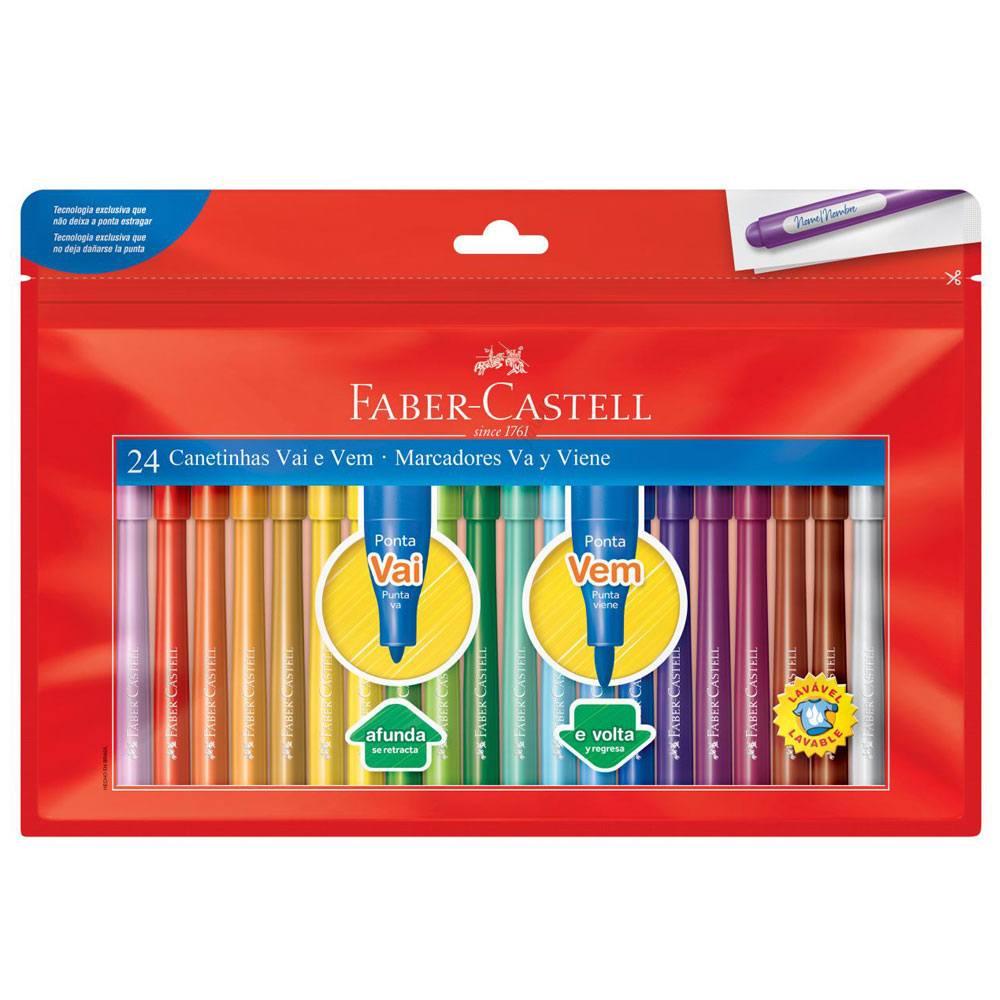 Caneta Hidrográfica Vai e Vem 24 Cores - Faber-Castell