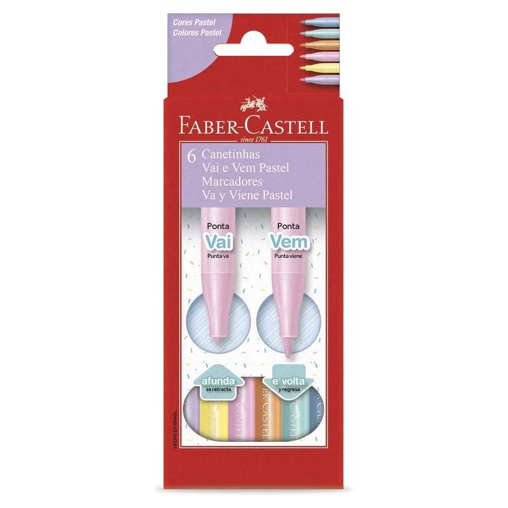 Caneta Hidrográfica Vai e Vem 6 Cores Pastel - Faber-Castell