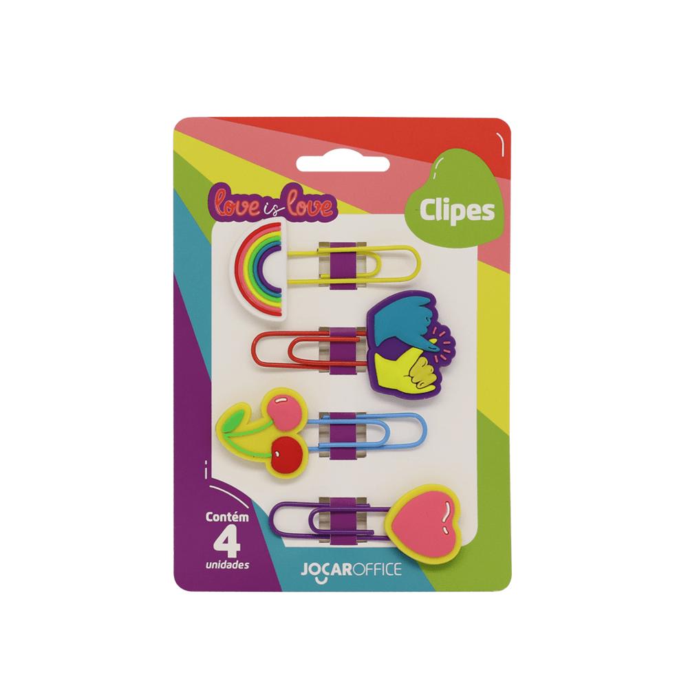 Kit Clipes Love is Love Mãos 5cm C/ 4 Unid. - Jocar Office