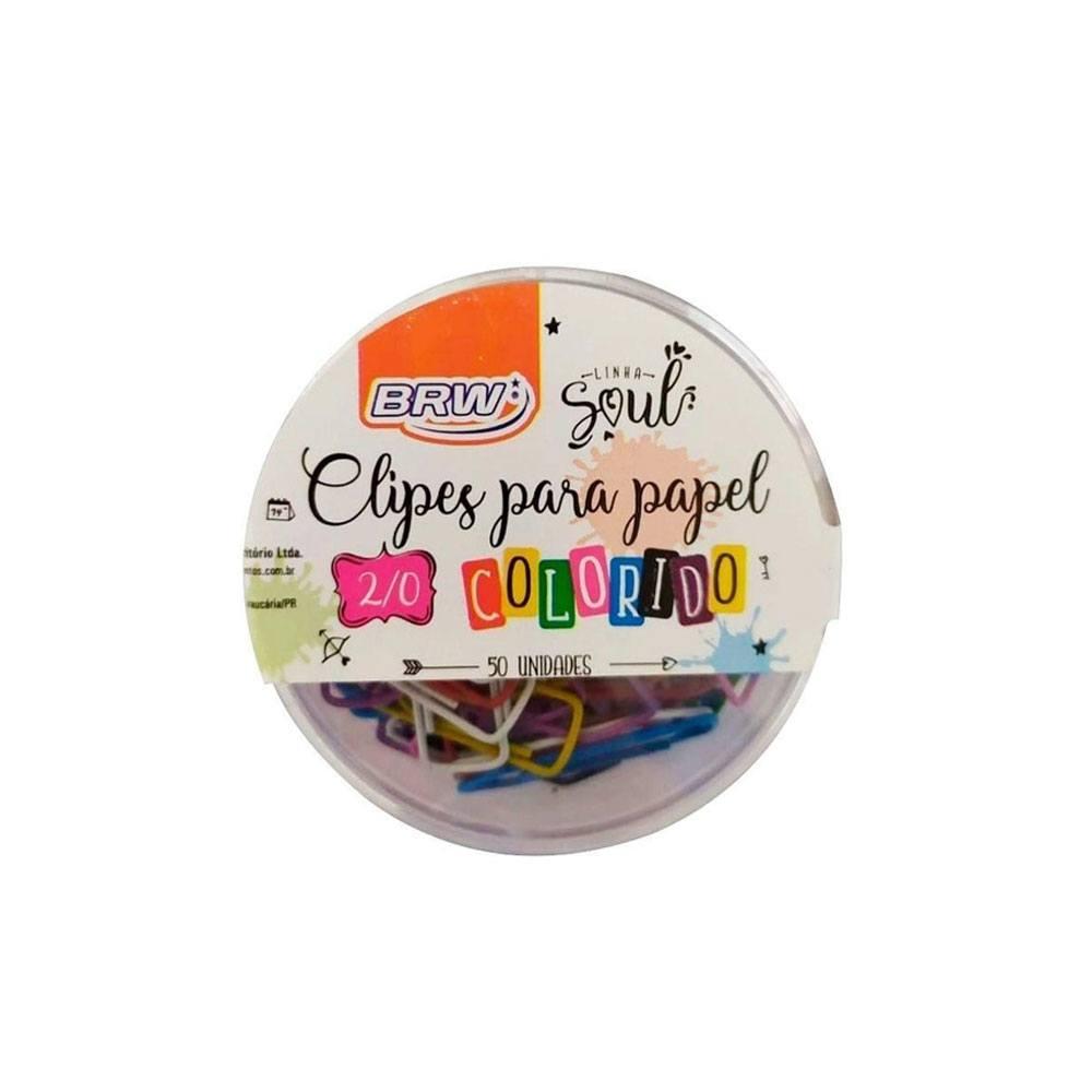 Clipes Para Papel 2/0 Colorido Pote c/ 50un - BRW