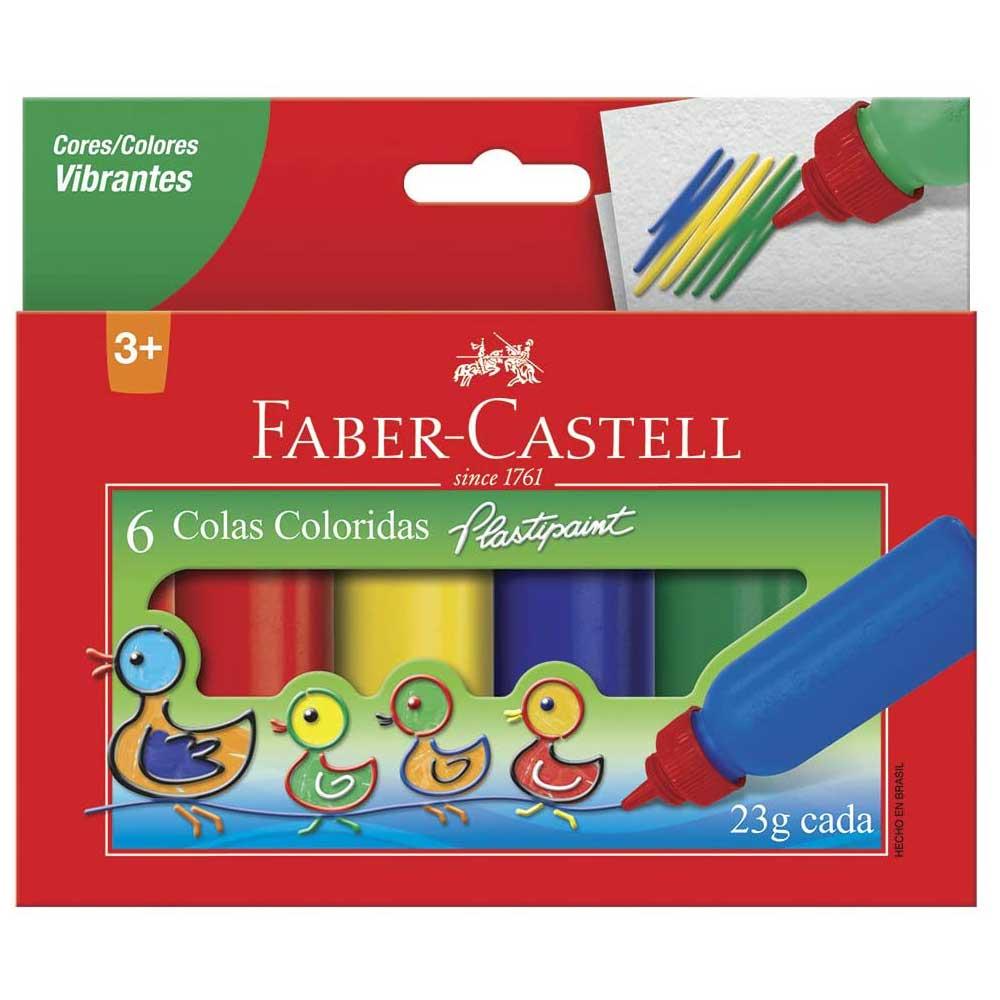 Cola Colorida - Plastipaint - 6 Cores - 23g Cada - Faber-Castell