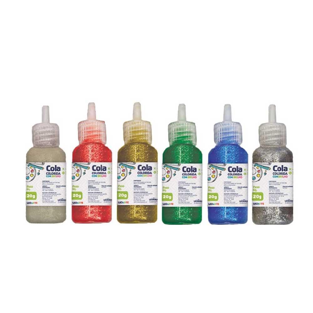 Cola Colorida Com Brilho 20g C/6 cores - Leoarte