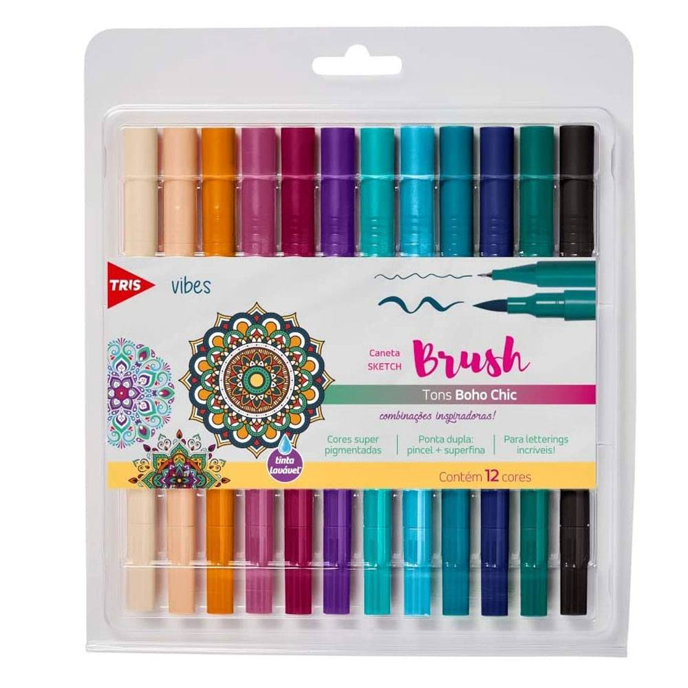 Conjunto Brush Pen e Fineliner Dual Tip Vibes Sketch Boho 12 Cores  - Tris