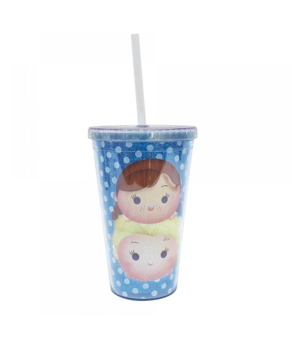 Copo Plástico Com Canudo Personagens Disney Frozen Tsum Tsum - 450ml