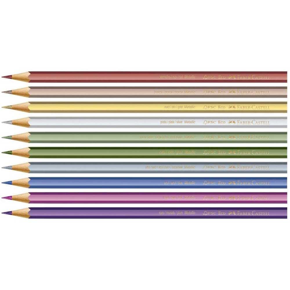 Lápis de Cor Sextavado Metálico Estojo com 10 Cores - Faber-Castell