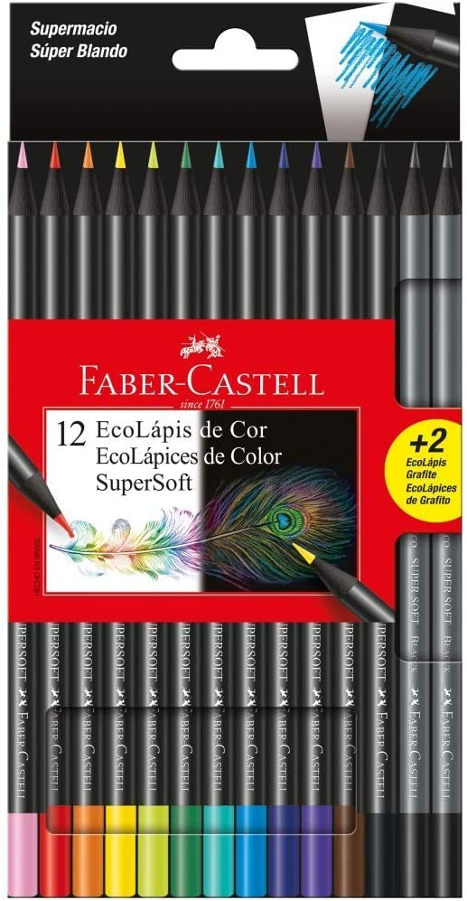 Lápis de Cor SuperSoft C/12 Cores + 2 Ecolápis Grafite - Faber-Castell