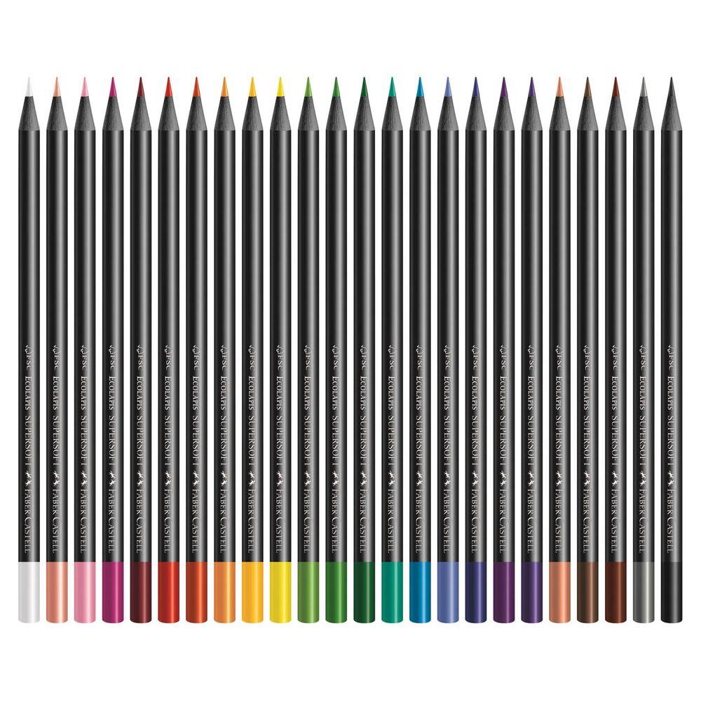 Lápis de Cor - Ecolápis Supersoft - Arredondado - 24 Cores - Faber-Castell