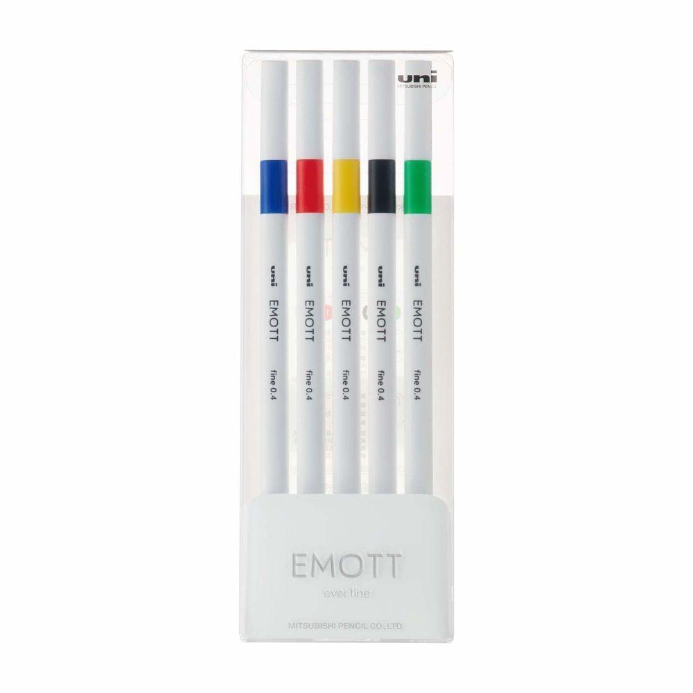 Caneta Emott Extrafina Hidrográfica 0.4 mm 5 Cores Nº1 Estojo C/ 5 Vivid Color - Uni-Ball