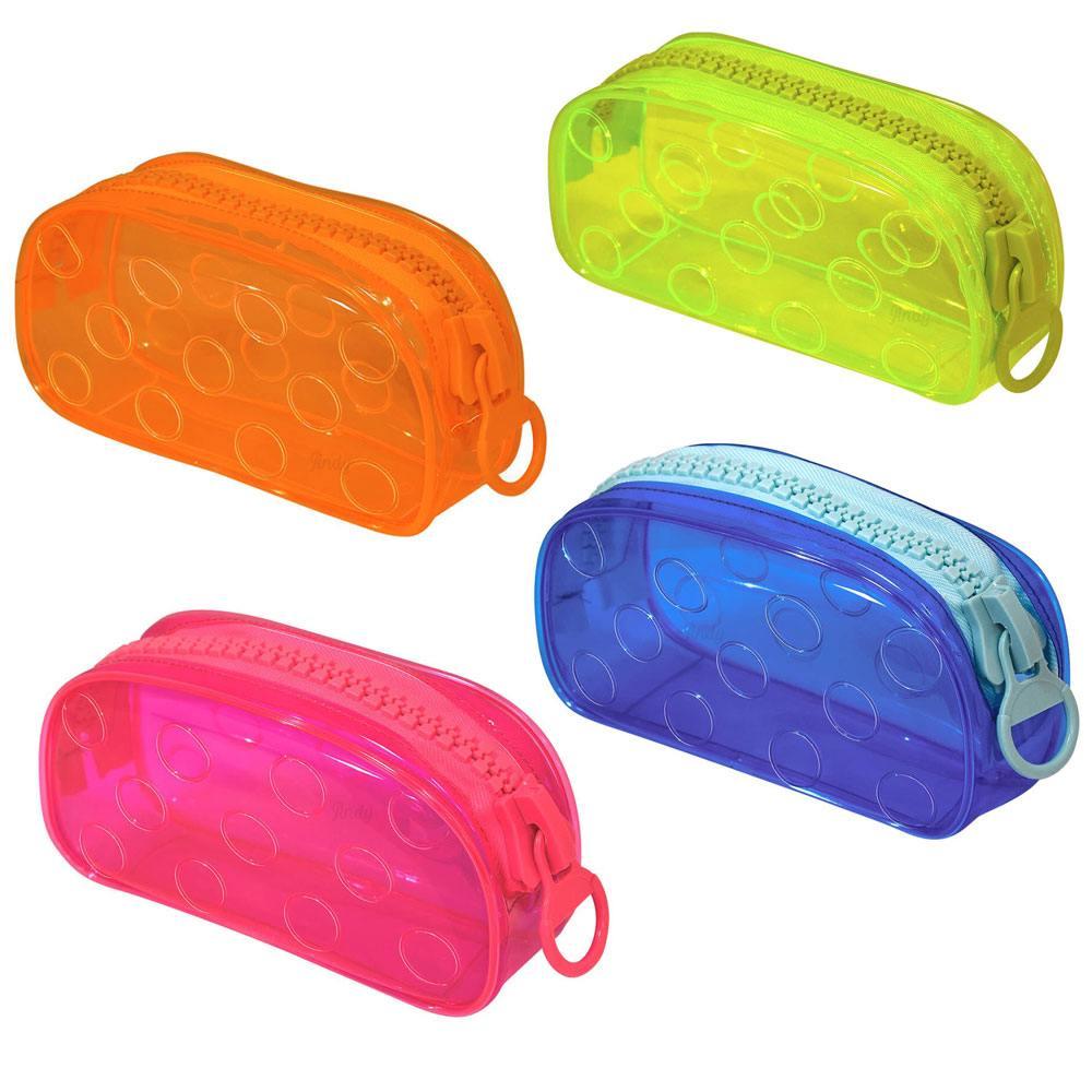Estojo Escolar Grande em PVC Cristal Translúcido Bubble Neon - DAC