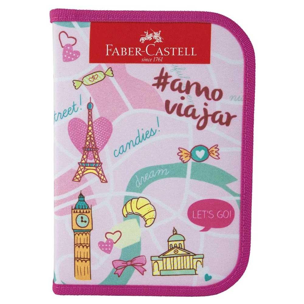 Estojo Nylon Completo Rosa C/ 18 Itens - Lets Go - Faber-Castell