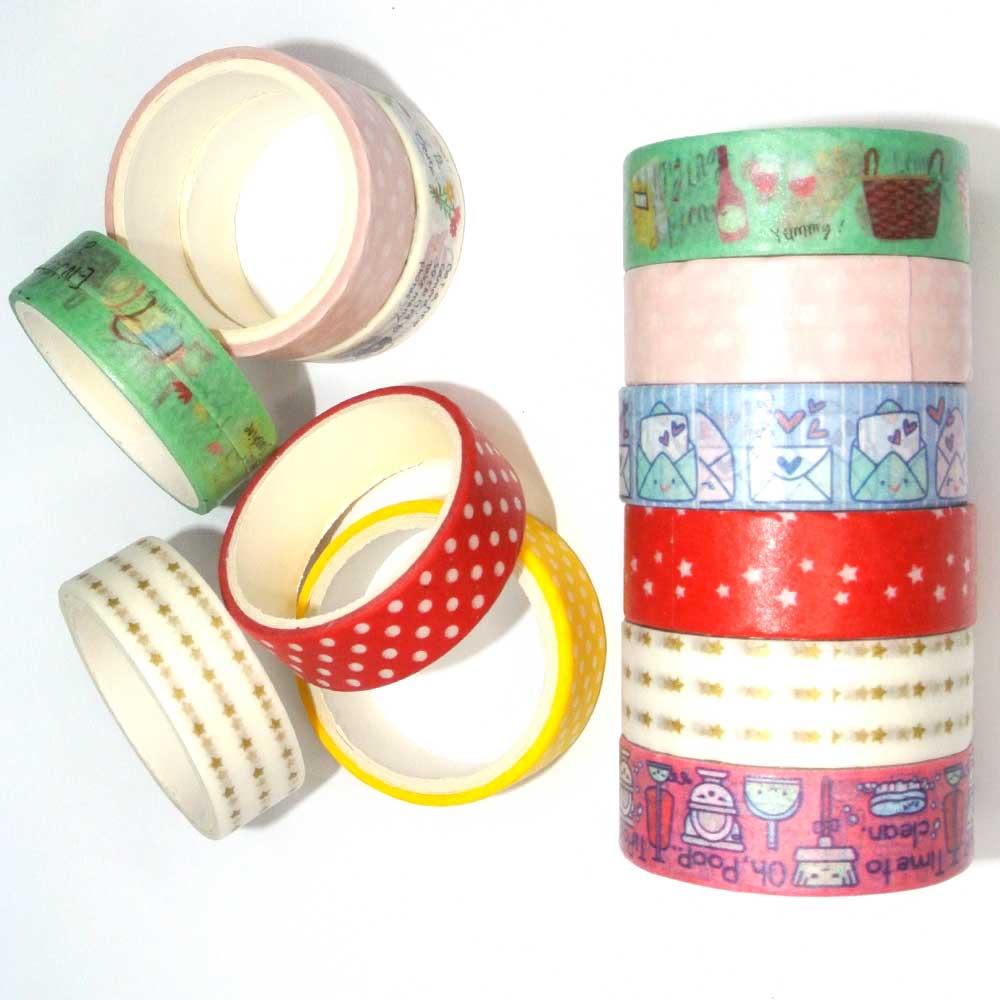 Fita Adesiva Decorativa / Washi Tape 1,4cm x 2,7m C/ 6 Rolos Sortida