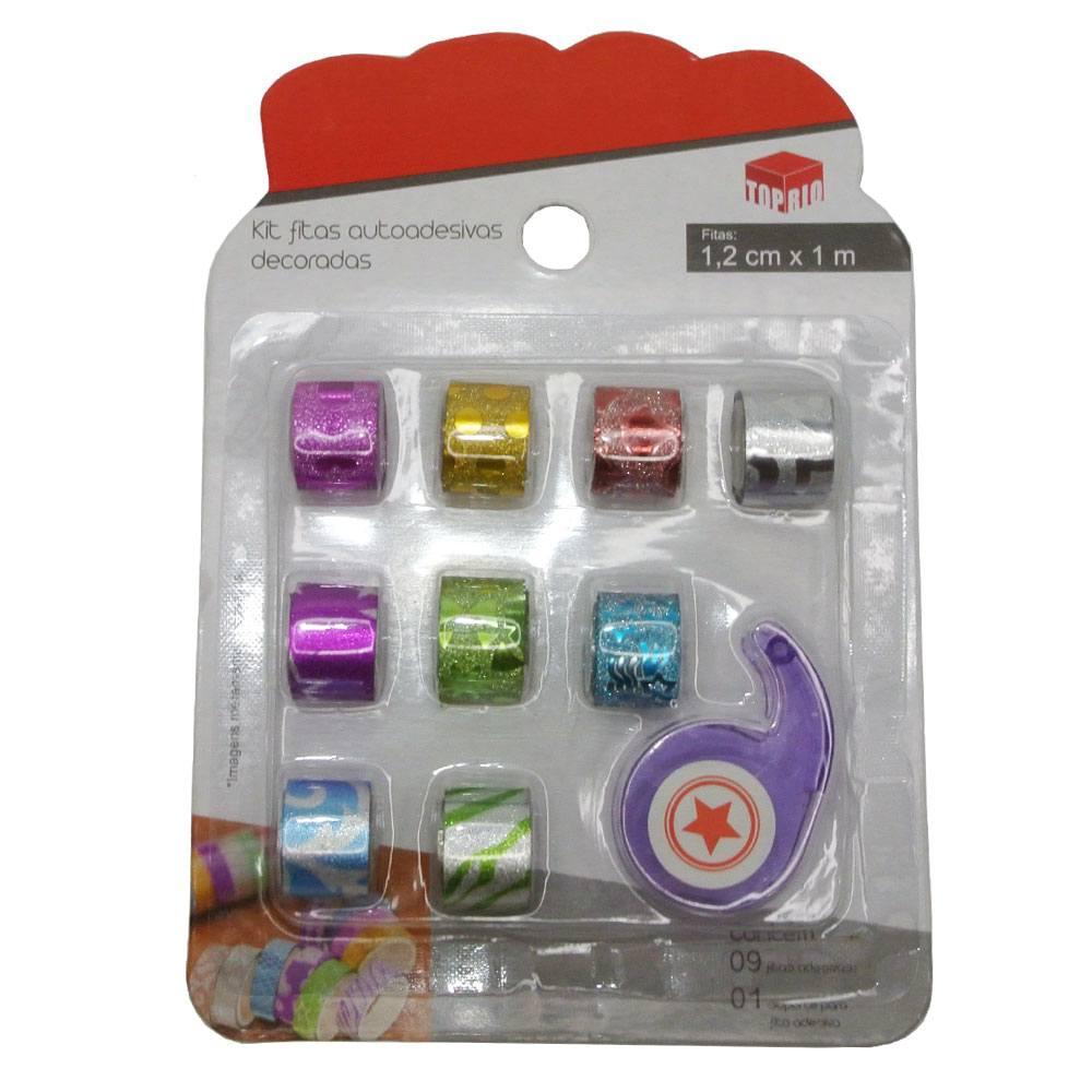 Fita Adesiva/Washi Tape Decorativa Com Glitter Colors + 1 Suportes Kit Com 10 Pecas 100X1,2Cm - Top rio Cores Sortidas