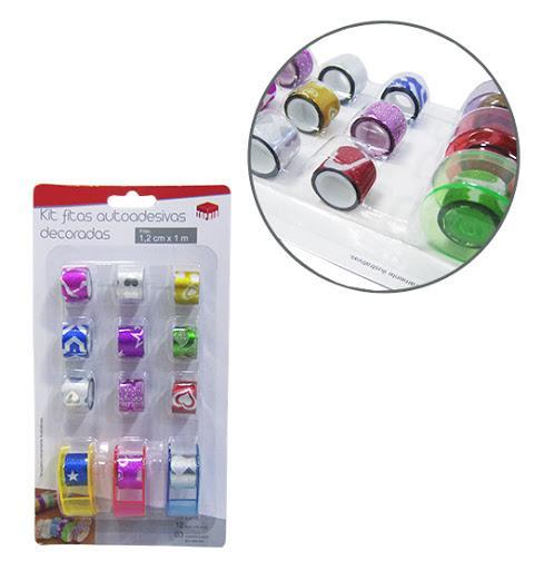 Fita Adesiva/Washi Tape Decorativa Com Glitter Colors + 3 Suportes Kit Com 15 Pecas 100X1,2Cm