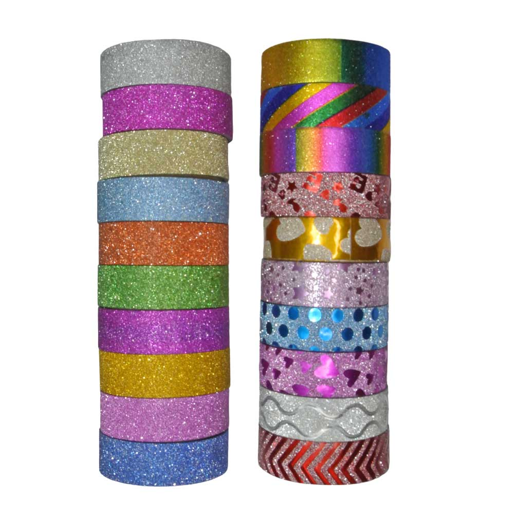 Fita Adesiva / Washi Tape Glitter 15mm. 10 Peças Sortidas