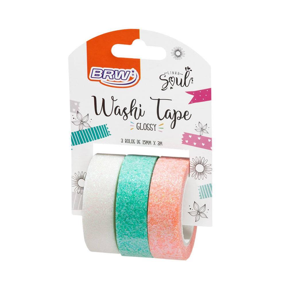 Fita Adesiva/Washi Tape Glossy Glitter 15mm x 3m c/3 - BRW