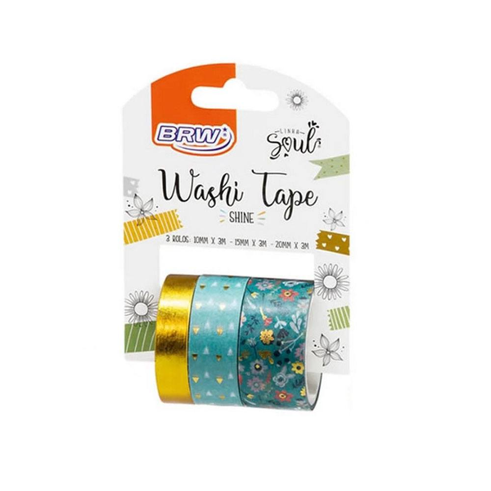 Fita Adesiva Washi Tape Shine Verde - 10/15/20mmx3m c/ 3un - BRW