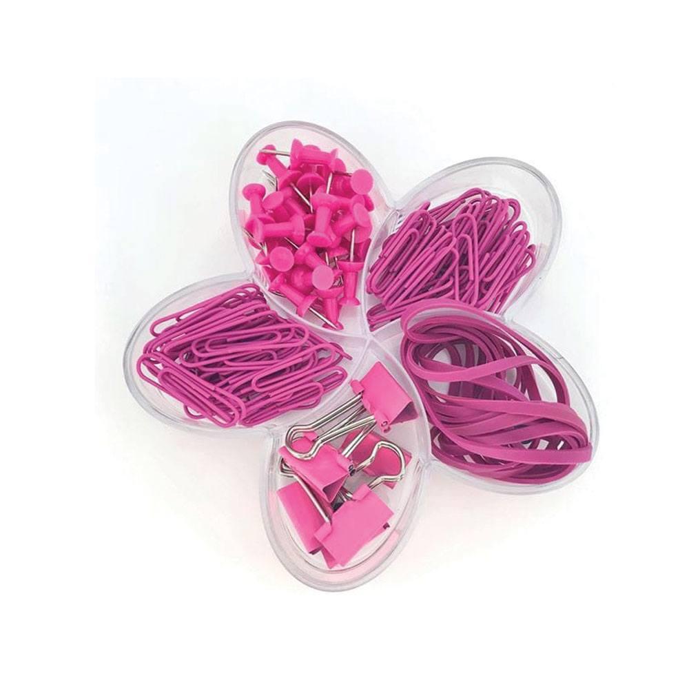Flor de Lotus Rose Pink Set (Binder, Percevejos, Clips e Elásticos) - Molin