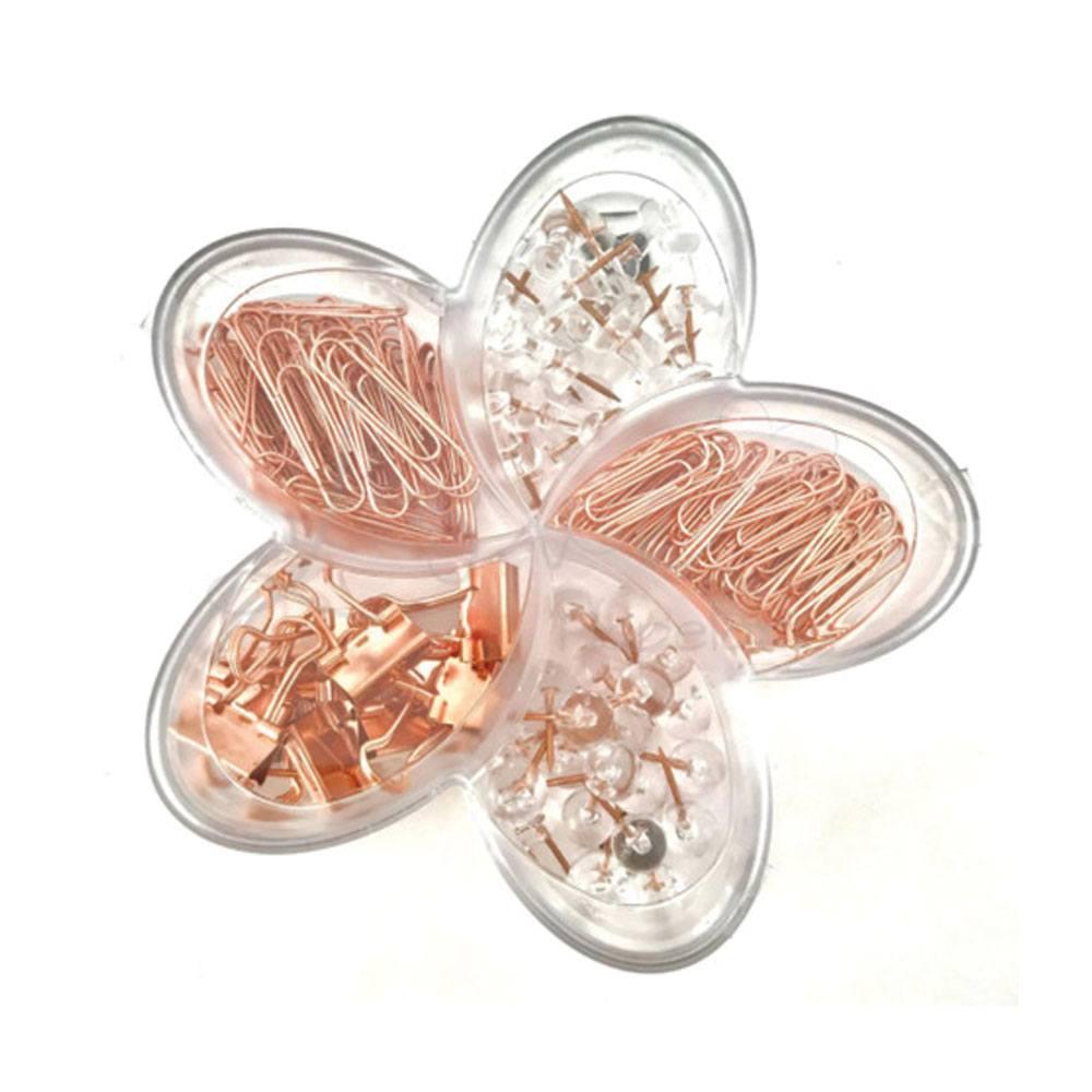 Flor de Lotus Rose Gold Set (Binder, Percevejos, Clips, Alfinetes) - Molin