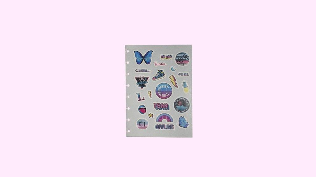 Folha de Adesivos Malibu - A5 - Caderno Inteligente