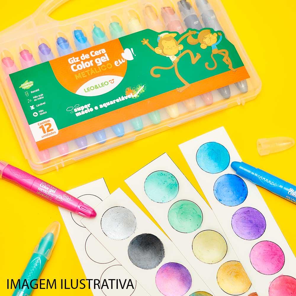 Giz de Cera Gel Color Metálico 12 Cores - Leo & Leo